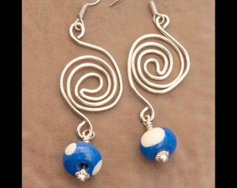 Blue and white sterling silver earrings