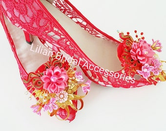 Traditional Bridal Wedding shoe clips~Chinese style shoes clips for wedding~Bridal shoes clips~Shoes accessory~Handmade bridal shoes clips