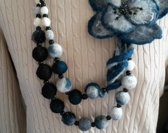Wool felted necklace with a flower and Glass Pearls and Crystals, Felted jewelry, wool necklace, gift.