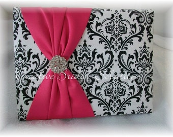 Black and White Madison Damask with Fuchsia Pink Wedding Guest Book