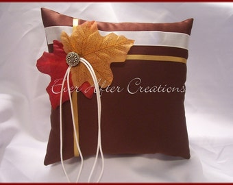Brown Autumn Wedding Ring Bearer Pillow