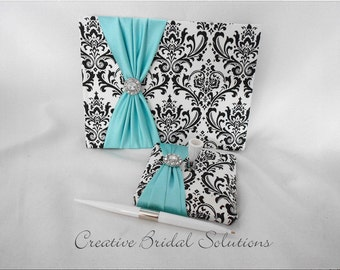 Black and White Madison Damask with Blue Wedding Guest Book and Pen Set