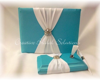 Aqua Blue and White Wedding Guest Book and Pen Set