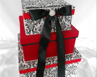 Black and White Madison Damask with Red Wedding Money Gift Card Box Holder, Red Card Box, Damask Wedding Card Box, Madison Box