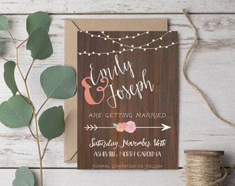 "Rustic Save-the-Date with Arrow 5x7"" DIGITAL or PRINTABLE"