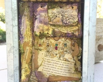 """Shakespeare Shadowbox, """"Gilding the Lily"""" Shadowbox, Painted Canvas Shadowbox"""