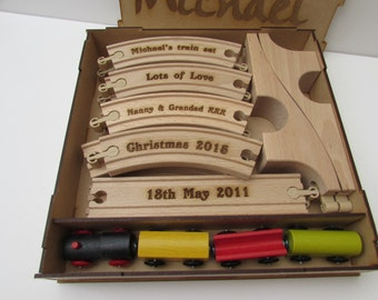 Personalised wooden Toy Train set Unique keepsake gift 1st train set. comes in a Personalised box.