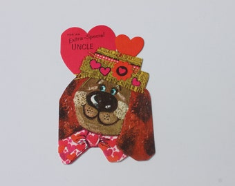Vintage Unused Valentines Day Card For Uncle, 60s 1960s Cute Bear Valentine with envelope
