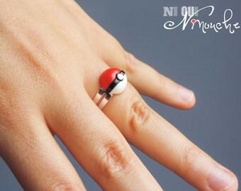 Ring pokeball (fimo) geek pokemon red and white adjustable pokemon GB