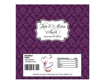 Eggplant Damask Wedding Candy Bar Wrapper - Printable