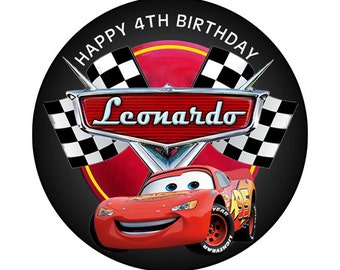 Disney Cars Lightning McQueen Round Sticker label