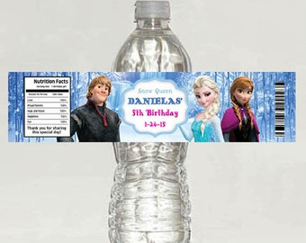 Disney Frozen Birthday Water Bottle Labels - Digital file