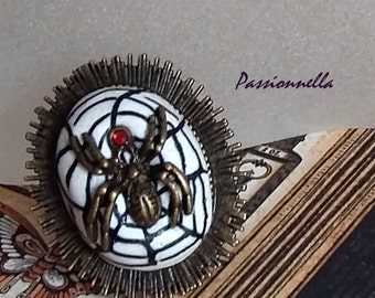 Spider ring and its web of polymer clay, Halloween ring, Gothic ring