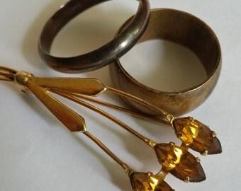 Vintage Latvian 2 wedding rings and brooch 1950s