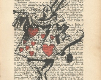 alice in wonderland vintage print white rabbit