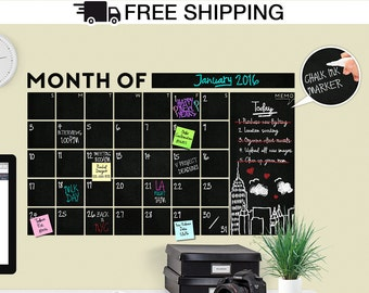 HUGE! Modern Monthly Chalkboard with Memo Wall Calendar - Blackboard / Chalkboard Decal - A Todeco Product