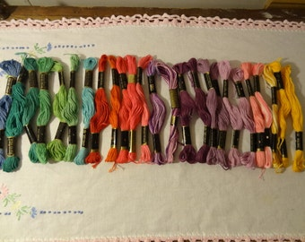 Lot of 25 skeins of American Thread Co. Embroidery floss greens, purples, reds, pinks
