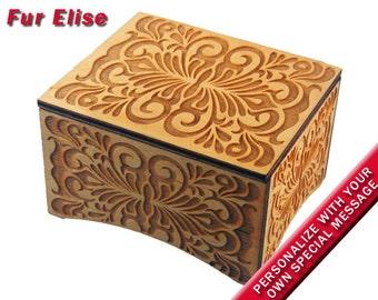 "Windup Music Box, ""Fur Elise"" by Beethoven, Laser Engraved Birch Wood"
