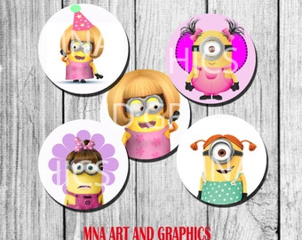 Minions Girls Cupcake Topper birthday party decoration - girly minions toppers 2 inch INSTANT download - printable