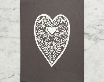 Original Papercut Art--Folk-Art Heart