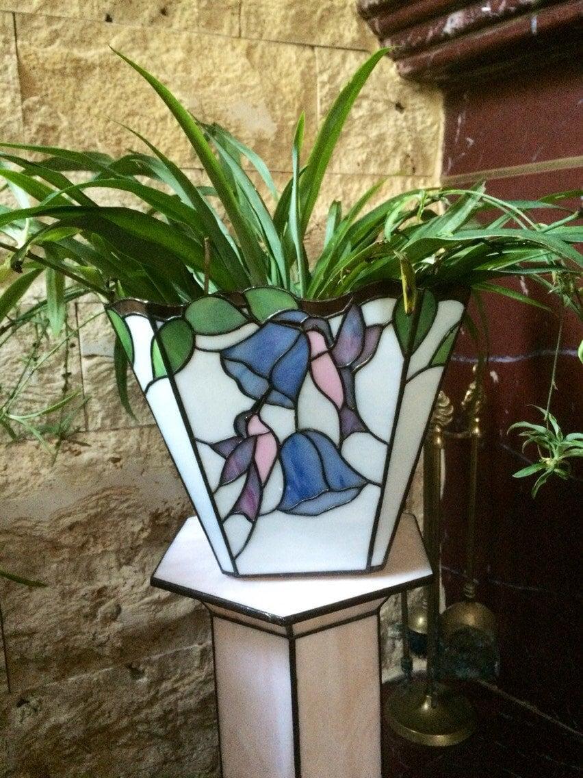 Decorative plant pot garden decor stained glass decor glass