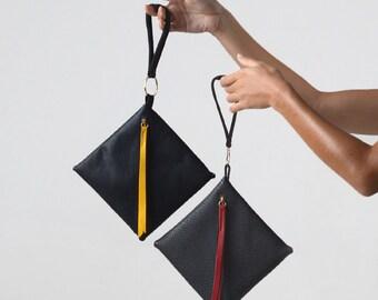 Black clutch purse, Red leather clutch, Black wristlet, Small black purse