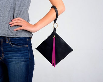Black evening clutch, Wristlet purse, Small clutch purse