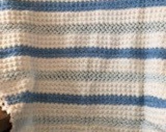 Crochet Baby Blanket - Blue/White Stripes