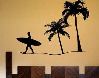 Surfer and Beach Scene Decal Sticker Wall Ocean Surf Boy Girl Surfing Teen