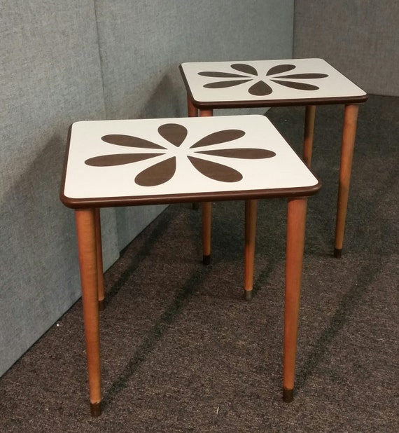 Mid-Century White Formica Flower Coffee Tables