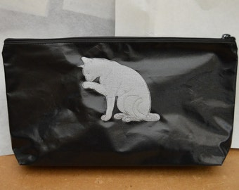 Pouch with embroidered gray cat