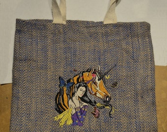 bag has hand embroidery with Unicorn has machine