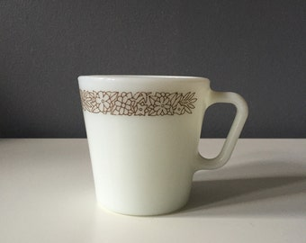 Vintage 1970s PYREX 'Woodland Brown' White Milk Glass Coffee Mug