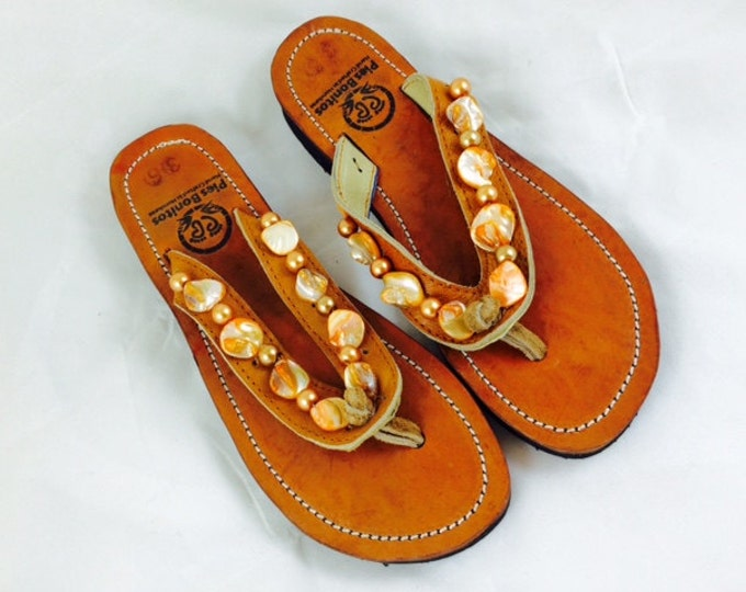Handcrafted Beaded Leather Sandals - Gold Shell Beads - Fair Trade - Brown Leather Flip Flop Sandals - From Honduras - Free Shipping