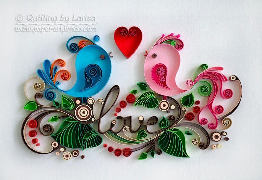 Quilling Wall Art Design : Quilling wall art paper love birds