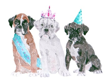 Water colour - Birthday Card -  Boxer Puppies Party