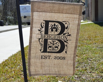 FREE SHIPPING! Garden Flag - Personalized - Burlap ; Yard Flag - Personalized - Burlap - Free Shipping!