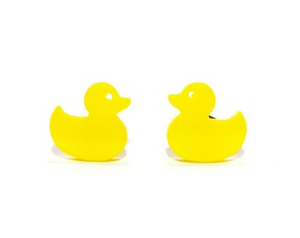 Duck Earrings in Yellow or Soft Pink, Duck Stud Earrings, Yellow Duck Earrings, Rubber Duck Earrings, Rubber Duckie Earrings, Titanium Studs