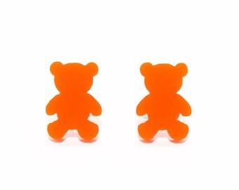 Gummy Bear Stud Earrings in Orange, Yellow or Red, Gummy Bear Earrings, Teddy Bear Earrings, Candy Earrings, Titanium Earrings, Gift for Her
