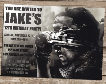 Call Of Duty Birthday Invitation - Call Of Duty Birthday Invite - Personalized Printable Call Of Duty Invite-Call Of Duty Party-Call Of Duty