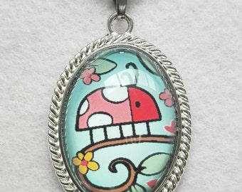 Girls necklace, with sweet little beetle illustration in pendant with glass