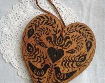 Wood heart,pyrography heart,folklore heart,folk heart,folk art heart,pyrography heart,folk art,folk art birds,rustic decor,rustic hearts,oak