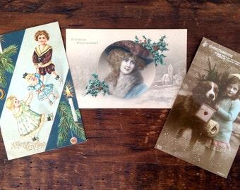 2 Antique Christmas Postcards