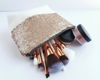 Sequin and Faux Leather Cosmetic & Toiletry Bag - Blush Matte Sequin, Off-White Faux Leather, Matte Satin Lining