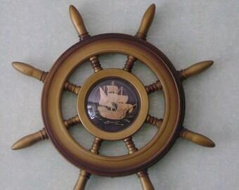 Vintage Wall decoration,  Big Helm, Soviet vintage steering wheel, hand made wooden ship