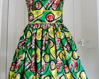 Green and Yellow Ankara Dress, Short Cotton Dress, Ladies' Summer Dress, African Wax Dress - Made to Order