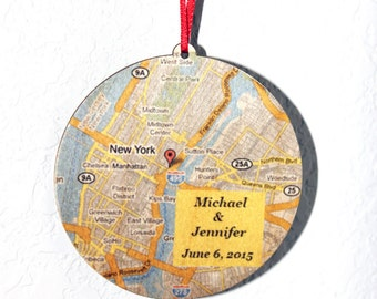 Personalized Circle Wood Map Ornament