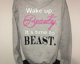 "Enocan Women's ""Wake Up, Beauty. It's Time To Beast"" Hoody - Fitness Clothing, Workout Clothing, Gym Apparel, Inspirational Hoody"
