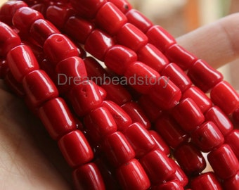 Coral Jewelry Making Beads, Full Strand 10*11mm Dyed Natural White Coral Barrel Loose Beads Supplies (WM220)