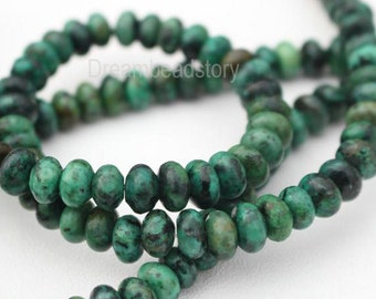 Loose Turquoise Rondelles, No Treated Genuine Green Turquoise 9*5mm Loose Spacer Beads Strands (HX119)